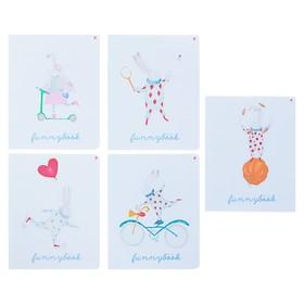 Тетрадь 48 листов клетка «Шапито», обложка мелованный картон, матовая ламинация, ламинация Soft Touch, МИКС
