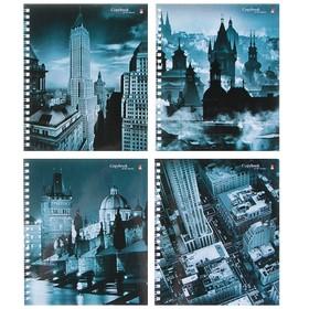 Тетрадь 80 листов в клетку на гребне «Города», обложка мелованный картон, глянцевая ламинация, МИКС