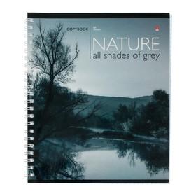 Тетрадь 80 листов в клетку на гребне «Природа монохром», обложка мелованный картон, глянцевая ламинация, МИКС