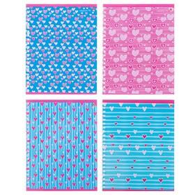 Тетрадь 96 листов в клетку на гребне «FRESH. Сердечки», обложка мелованный картон, глянцевая ламинация, МИКС