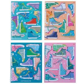 Тетрадь 96 листов в клетку на гребне «Кеды», обложка мелованный картон, глянцевая ламинация, МИКС