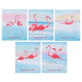 Тетрадь 48 листов в клетку «Фламинго», обложка мелованный картон, ламинация Soft Touch, фольга, МИКС