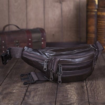 Pouch belt, the division zippers, 6 exterior pockets, color brown