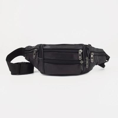 Pouch belt, the division zippers, 6 exterior pockets, color black