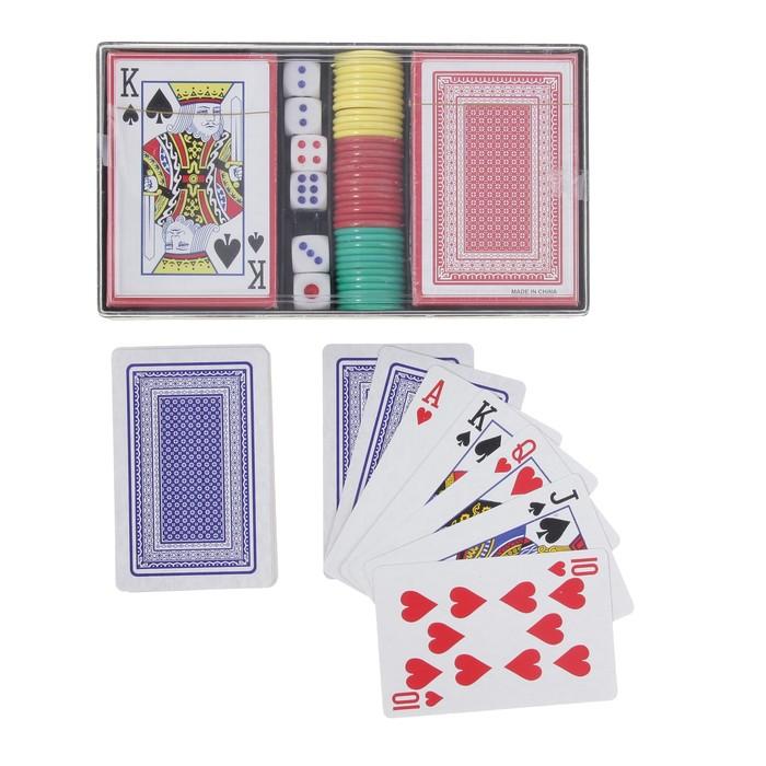 Набор для покера: 36 фишек, 2 колоды карт по 54 шт., 6 кубиков, пластиковая коробка