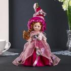"Doll ceramic collectible ""flora in a crimson dress"" 24 cm"