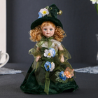 """Doll ceramic collectible """"flora in a green dress"""" 24 cm"""