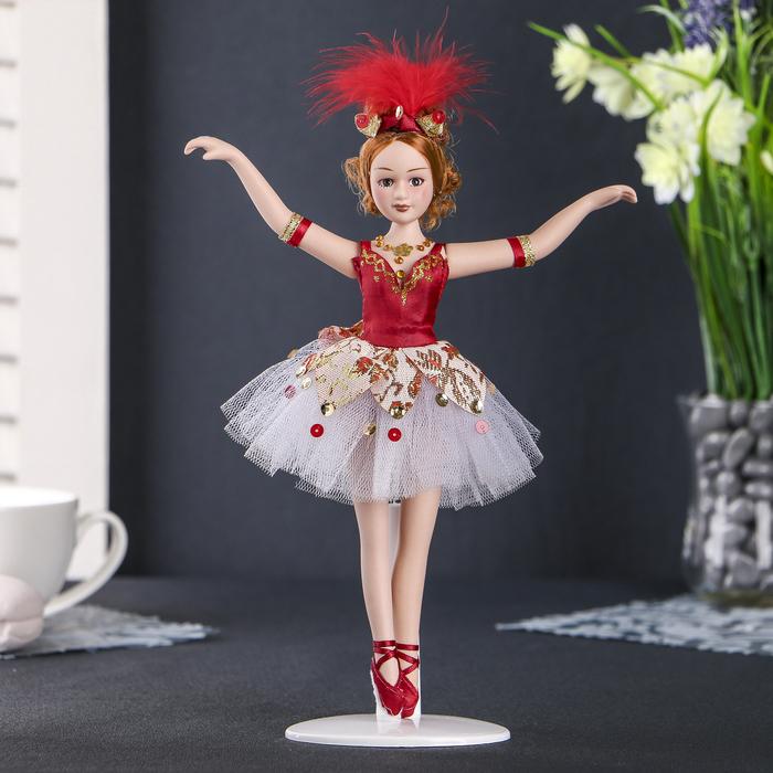 """Кукла керамика коллекционная """"Балерина в красном"""" 23 см"""