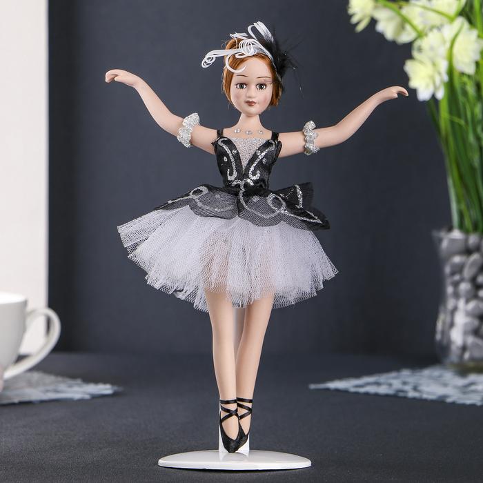 """Кукла керамика коллекционная """"Балерина в чёрном"""" 23 см"""