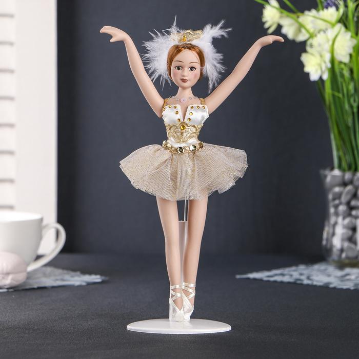 """Кукла керамика коллекционная """"Балерина в золотистом"""" 23 см"""