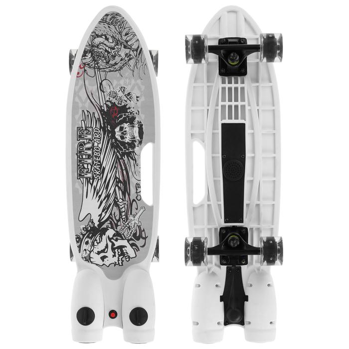 Скейтборд с эффектом дыма 68х20 см, колёса световые PU 60х45 мм, ABEC 7, цвет белый