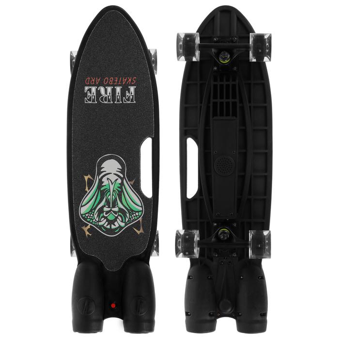 Скейтборд 68х20 см, колеса световые PU 60х45 мм, ABEC 7, с эффектом дыма, цвет черный