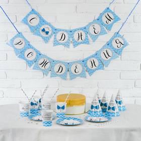 """Set of paper dishes """"happy birthday Little gentleman"""", 6 plates, 6 cups, 6 cap"""