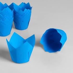 """Форма для выпечки """"Тюльпан"""", синий, 5,8 х 8,5 см"""