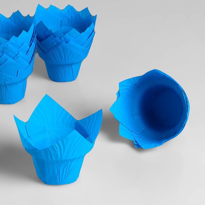 "Форма для выпечки ""Тюльпан"", со ступенькой, синий, 5 х 8,5 см - фото 131306811"