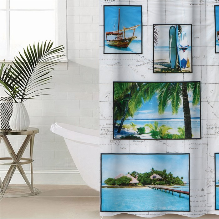 """Blind for the bathroom """"Beach"""", 180х180 cm, EVA"""