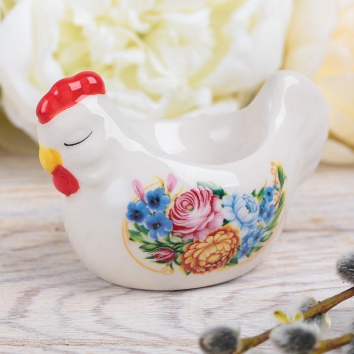 Подставка в форме курочки на 1 яйцо «Цветы»