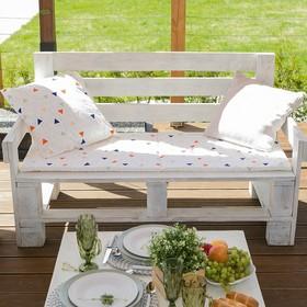Подушка на 2-местную скамейку Этель «Треугольники», 45 × 120 см, репс с пропиткой ВМГО, 100%-ный хлопок