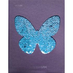 Дневник универсальный для 1-11 классов Sparkling Butterfly, твёрдая обложка, пайетки, искусственная кожа, термотиснение, ляссе, блок 80 г/м²