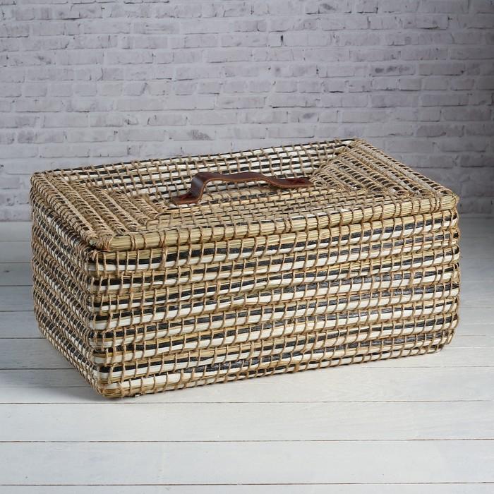 Корзина - короб для хранения вещей с крышкой, 41×27×17 см, тростник