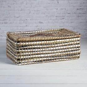 Корзина - короб для хранения вещей с крышкой, 35×21×13 см, тростник