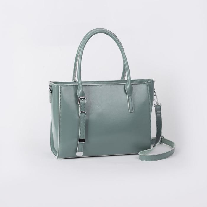 Сумка женская, отдел с перегородкой на молнии, наружный карман, длинный ремень, цвет зелёный - фото 50162