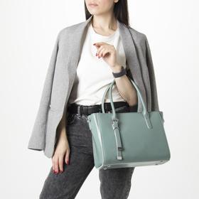 Сумка женская, отдел с перегородкой на молнии, наружный карман, длинный ремень, цвет зелёный - фото 50165