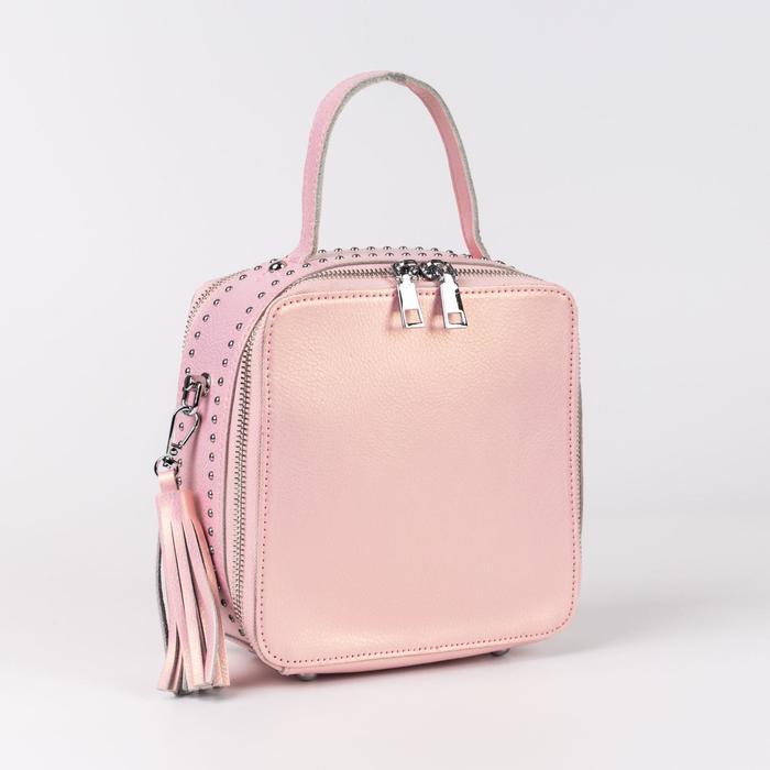 Сумка женская, отдел на молниях, длинный ремень, цвет розовый