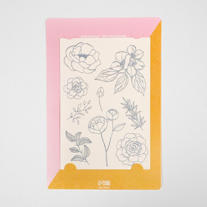 Наклейки‒переводки Flowers, 14 × 21 см