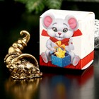 """Souvenir metal """"Mouse of Happiness, wealth"""", gold, in box 2,8x3,7 cm"""