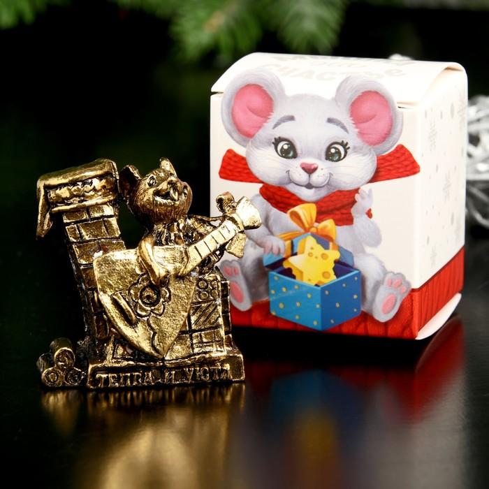 "Сувенир металл ""Мышка Тепла и уюта"", золото, в коробке 3,9х3,8 см"