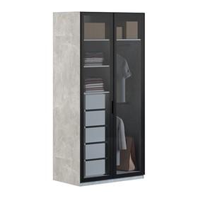 Шкаф 2 двери Бержер 1200х620х2150 Метрополитан Грэй/Белый МДФ Ош