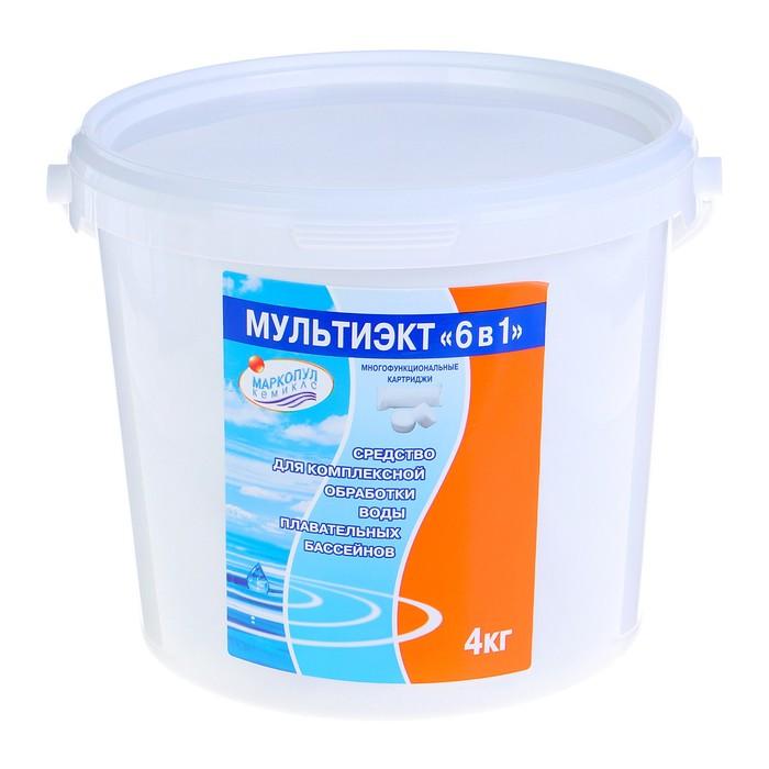 Средство для комплексной обработки воды плавательных бассейнов Мультиэкт 6в1, картридж, 4 кг   44047
