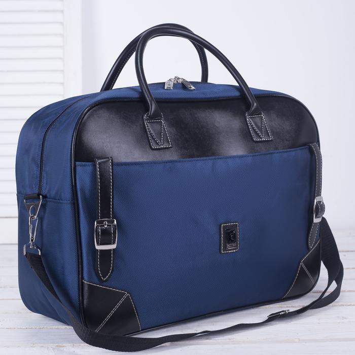 Сумка дорожная, отдел на молнии, наружный карман, регулируемый ремень, цвет синий