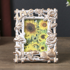 "Plastic photo frame 10x15 cm ""Roses and bamboo"" gold patina 19х14,5 cm"