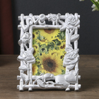 "Plastic photo frame 10x15 cm ""Roses and bamboo"" silver patina 19х14,5 cm"