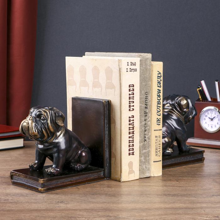 """Держатели для книг """"Чёрные бульдоги"""" с золотом набор 2 штуки 14х15,5х9 см"""