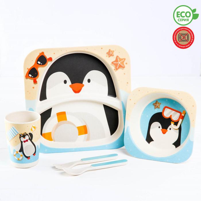 Набор детской посуды «Пингвинёнок», из бамбука, 5 предметов: тарелка, миска, стакан, столовые приборы - фото 105458937