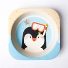 Набор детской посуды «Пингвинёнок», из бамбука, 5 предметов: тарелка, миска, стакан, столовые приборы - фото 105458942