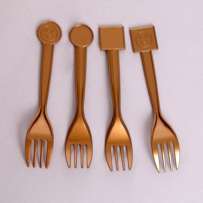 Вилка пластиковая, набор 10 шт., цвет золотой