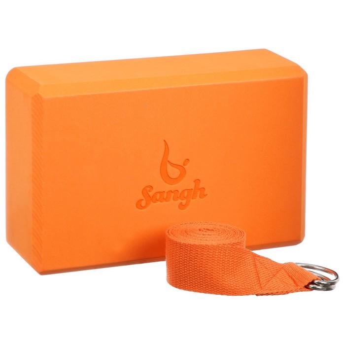 Набор для йоги (блок+ремень), цвет оранжевый