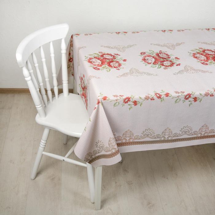 """Клеенка столовая на такни, ширина 137 см """"Цветы"""", толщина 0,3 мм, рулон 20 метров"""