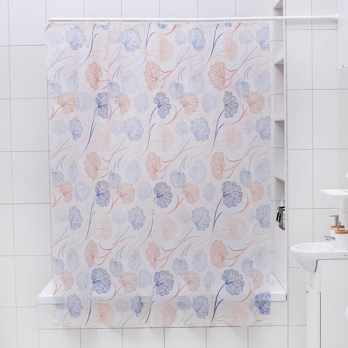 """Штора для ванной 180×180 см """"Цветы"""", EVA"""
