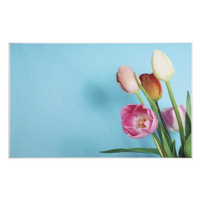 """Фотофон винил """"Разноцветные тюльпаны на голубом"""" 80х125 см"""