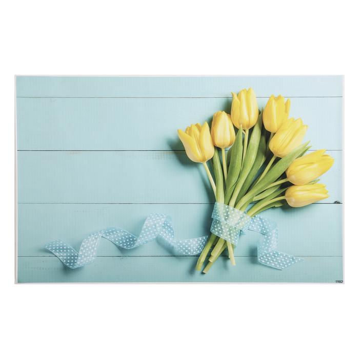 "Фотофон винил ""Жёлтые тюльпаны на голубом"" 80х125 см"