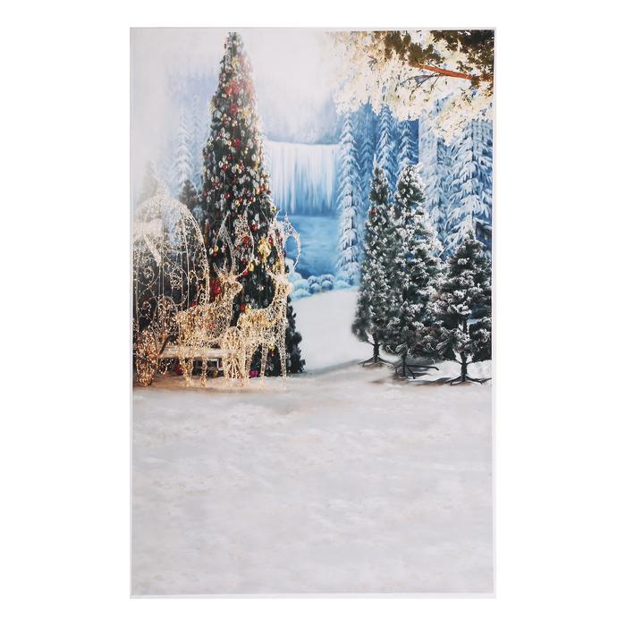 """Фотофон винил """"Светящиеся олени в еловом лесу"""" стена+пол 125х80 см"""