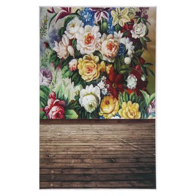 """Фотофон винил """"Винтажные цветы"""" стена+пол 125х80 см"""
