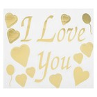 "Sticker on polymer balls ""I love you"", hearts, color Golden"