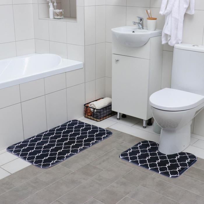Набор ковриков для ванны и туалета Доляна «Сантра», 2 шт 40×50, 50×80 см, цвет чёрно-белый - фото 7929942