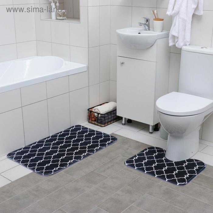 """Set of floor mats for the bath and toilet 2 piece """"Santa"""" 50 × 80, 50х39 cm, color black and white"""
